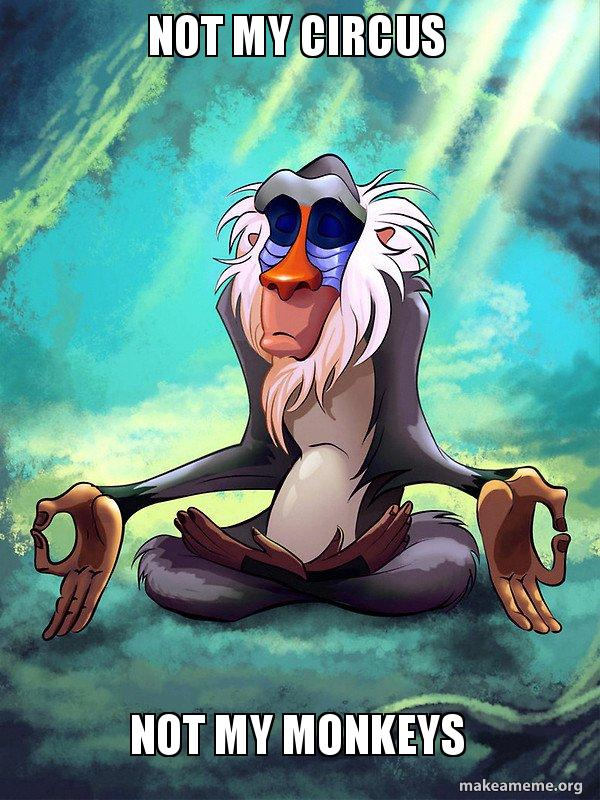 Not My Circus Not My Monkeys Rafiki Meditating Lion King Make A Meme
