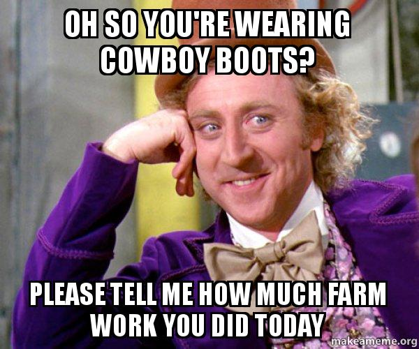 Oh So You Re Wearing Cowboy Boots Please Tell Me How Much