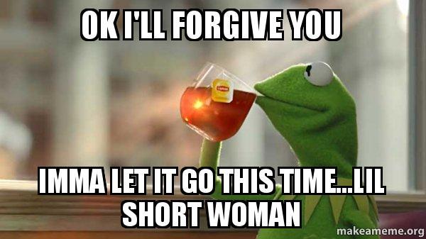 ok ill forgive ok i'll forgive you imma let it go this time lil short woman,I Forgive You Meme