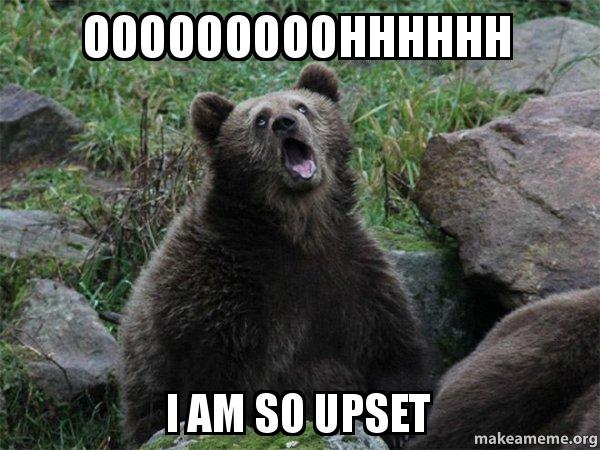 ooooooooohhhhhh i am ooooooooohhhhhh i am so upset sarcastic bear make a meme