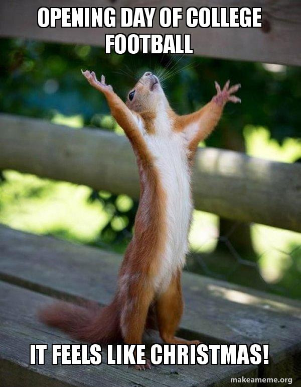 happy squirrel meme - Christmas Day College Football
