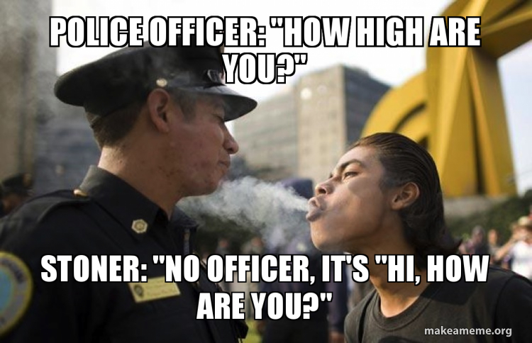 Police Officer How High Are You Stoner No Officer It S Hi