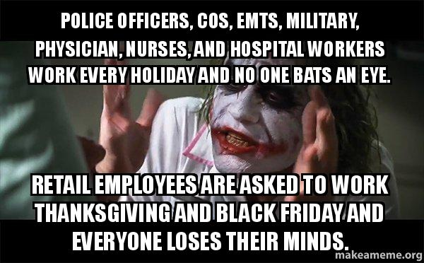 police officers cos police officers, cos, emts, military, physician, nurses, and,Military Thanksgiving Meme