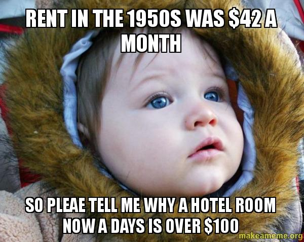 Rent in the 1950s was 42 a month so pleae tell me why a for Rent a hotel for a month