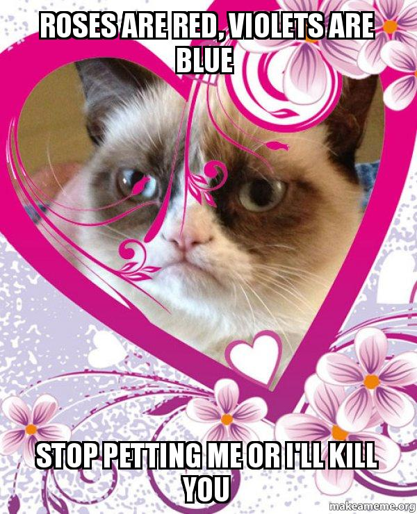 roses are red violets are blue stop petting me or i ll