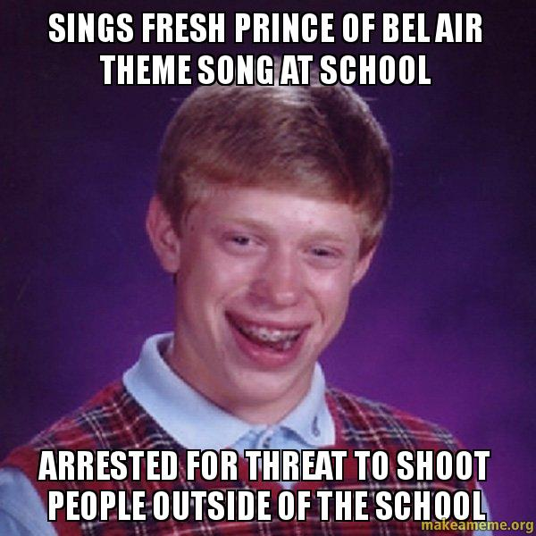 sings fresh prince sings fresh prince of bel air theme song at school arrested for,Fresh Prince Of Bel Air Theme Song Meme