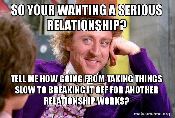 so your wanting so your wanting a serious relationship? tell me how going from