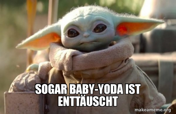 Baby Yoda looking at you meme