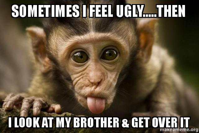 Funny Meme For Brother : Sometimes i feel ugly then look at my brother get