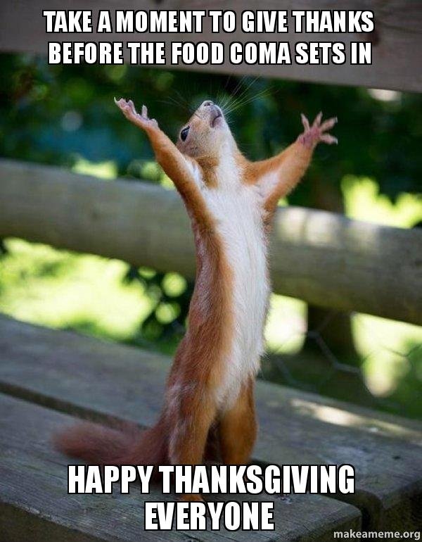 Take A Moment To Give Thanks Before The Food Coma Sets In Happy