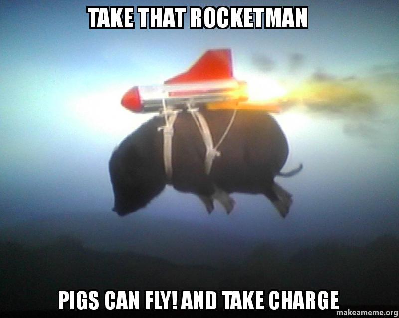 Take That Rocketman Pigs Can Fly And Take Charge Make A Meme