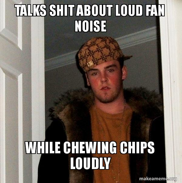 Talks Shit About Loud Fan Noise While Chewing Chips Loudly Make A Meme