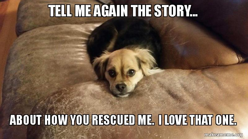 Tell me again the story    about how you rescued me  I love