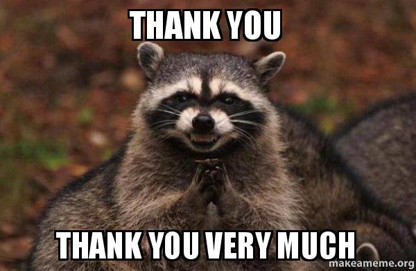 thank you thank n1wzxe thank you thank you very much evil plotting raccoon make a meme