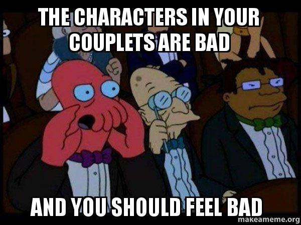 Anime Characters You Feel Bad For : The characters in your couplets are bad and you should