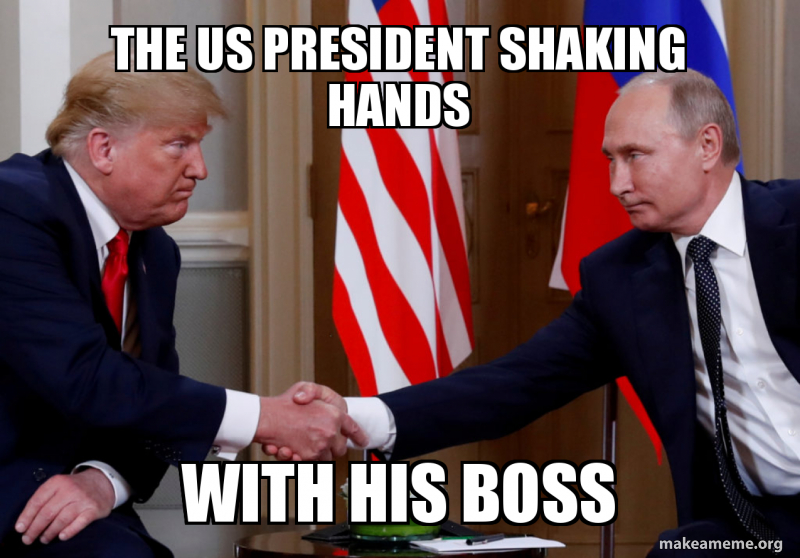 The us president SHAKING hands with his boss | Make a Meme
