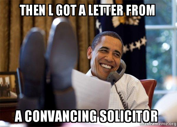 then l got then l got a letter from a convancing solicitor happy obama meme