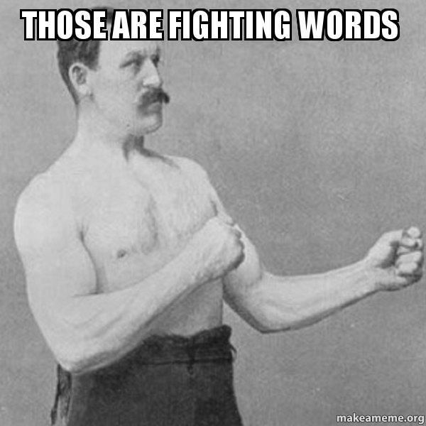 Image result for meme fighting words
