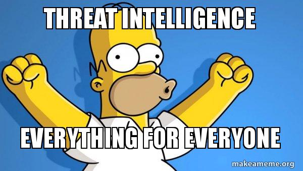 Threat Intelligence Everything for Everyone - | Make a Meme