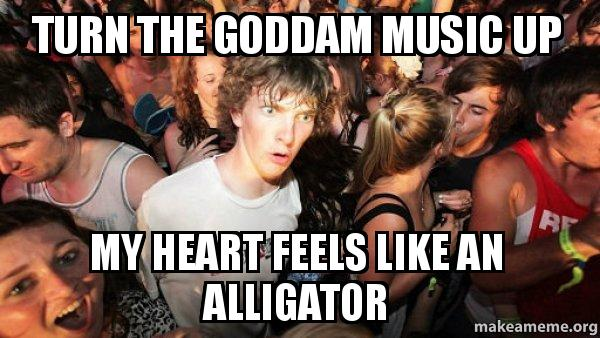 Turn The Goddam Music Up My Heart Feels Like An Alligator Sudden