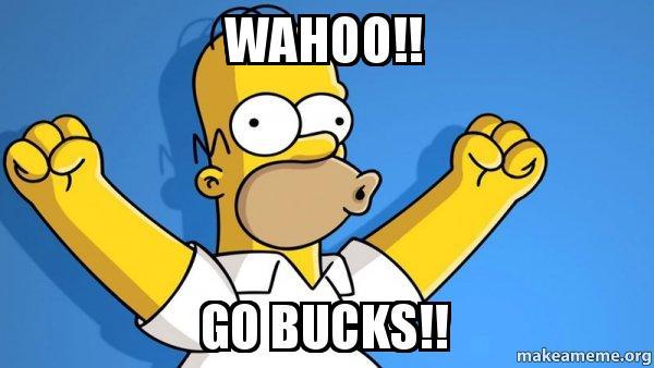 wahoo go bucks wahoo!! go bucks!! happy homer make a meme