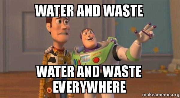 ... and waste everywhere - Buzz and Woody (Toy Story) Meme | Make a Meme