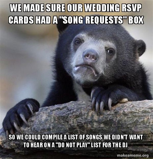 Confession Bear - Wedding RSVP Song Requests