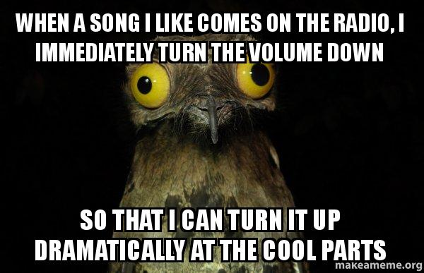 when a song i like comes on the radio, i immediately turn ...