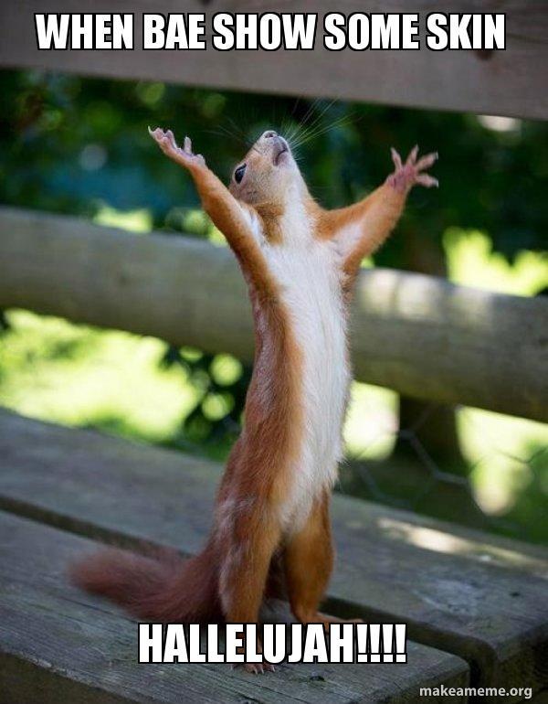 WHEN BAE SHOW SOME SKIN HALLELUJAH!!!! - Happy Squirrel | Make a Meme