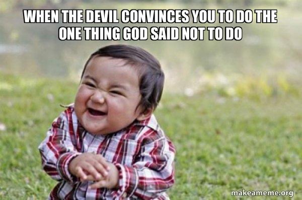 Evil, scheming toddler meme