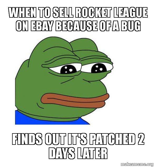 When To Sell Rocket League On Ebay Because Of A Bug Finds Out It S Patched 2 Days Later Feels Bad Man Make A Meme