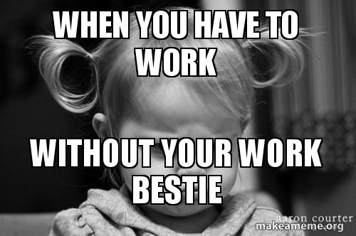 When you have to work Without your work bestie   Make a Meme