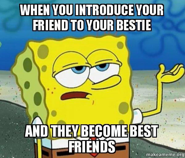 when you introduce your friend to your bestie and they become best