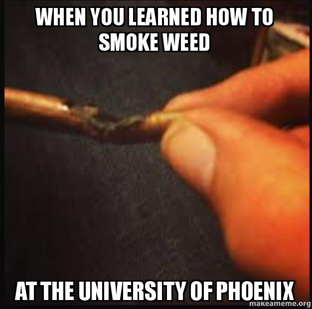 When You Learned How To Smoke Weed At The University Of Phoenix