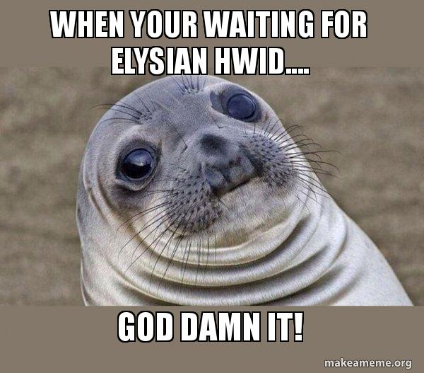 When your waiting for elysian hwid     GOD DAMN IT! - Squeamish Seal