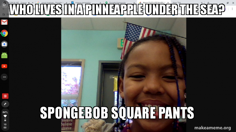 Who lives in a pinneapple under the sea? SPONGEBOB SQUARE PANTS