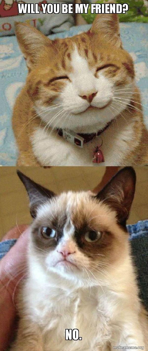 Will You Be My Friend No Grumpy Cat Vs Happy Cat Make A Meme