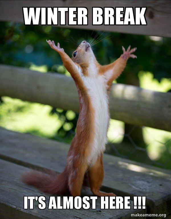 Winter break It's almost here !!! - Happy Squirrel | Make a Meme