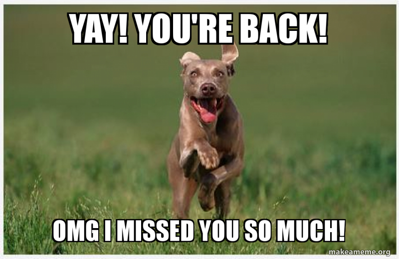 Yay You Re Back Omg I Missed You So Much Make A Meme For every submitter, at most one. yay you re back omg i missed you so