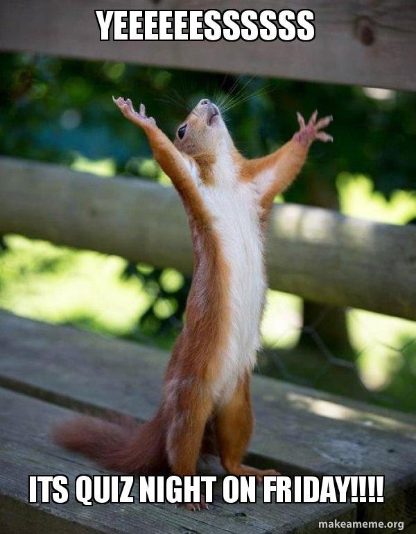 yeeeeeessssss its quiz yeeeeeessssss its quiz night on friday!!!! happy squirrel make,Organizing Meme