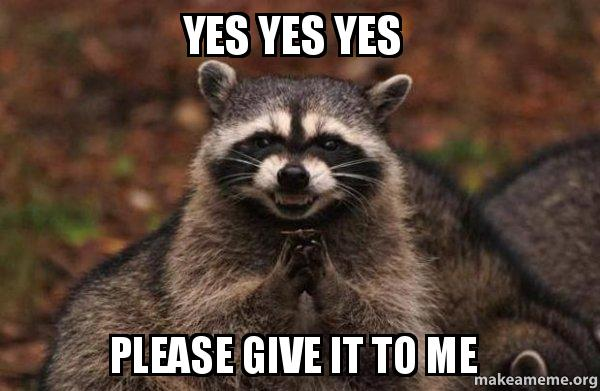 yes yes yes kgzlo2 yes yes yes please give it to me evil plotting raccoon make a meme
