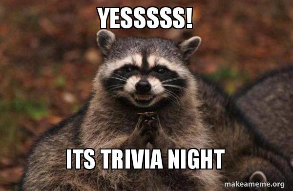 Yesssss! Its Trivia Night - Evil Plotting Raccoon | Make a Meme