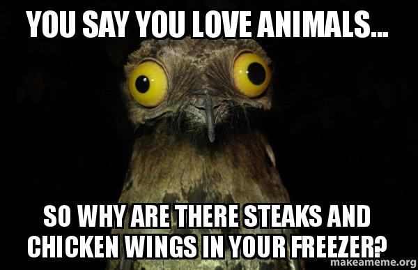Chicken Wings Funny Meme: You Say You Love Animals... So Why Are There Steaks And