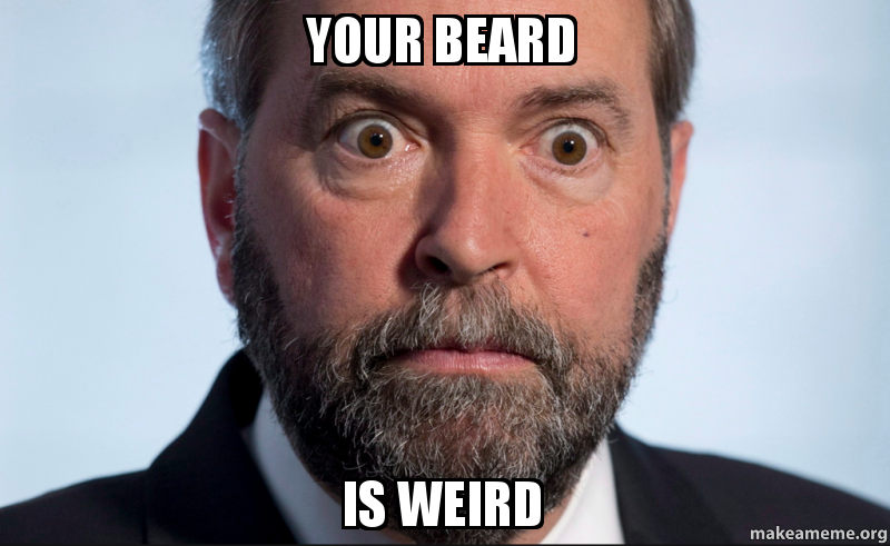 your beard is weird make a meme
