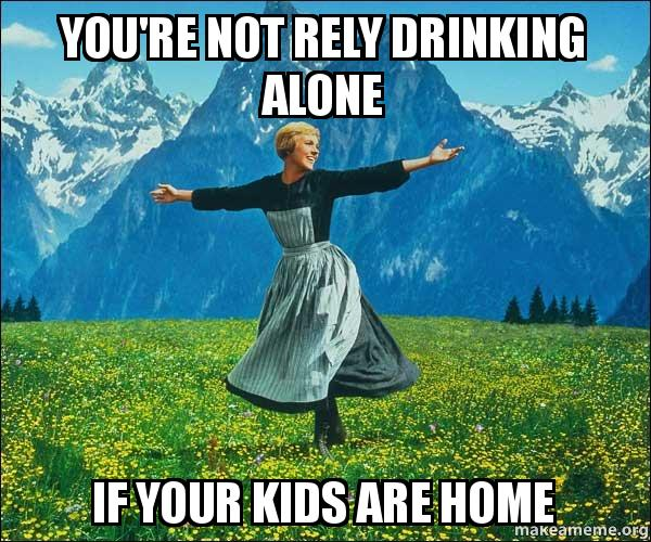 Funny Memes About Drinking Alone : You re not rely drinking alone if your kids are home